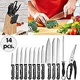 Set 14 couteaux en acier inoxydable avec bloc en bois - Couteaux de cuisine -...