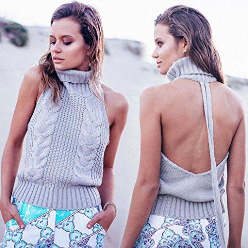 Yogogo Beiläufiger hoher Kragen Ärmellos Sweatshirt Weste Bluse schneiden Top Party Clubwear für Frauen Grau