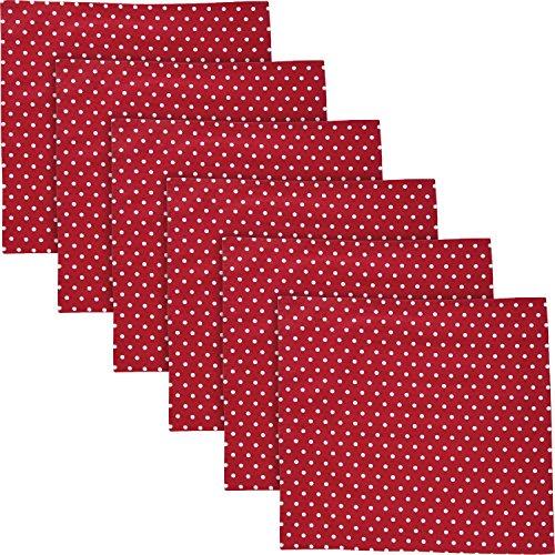 REDBEST Serviette, Stoffserviette Punkte 6er- Pack, 100% Baumwolle rot Größe 50x50 cm - Robustes, glattes Gewebe, mit...