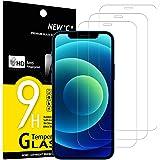 NEW'C Lot de 3, Verre Trempé Compatible avec iPhone 12/12 Pro (6.1), Film Protection écran sans Bulles d'air Ultra Résistant