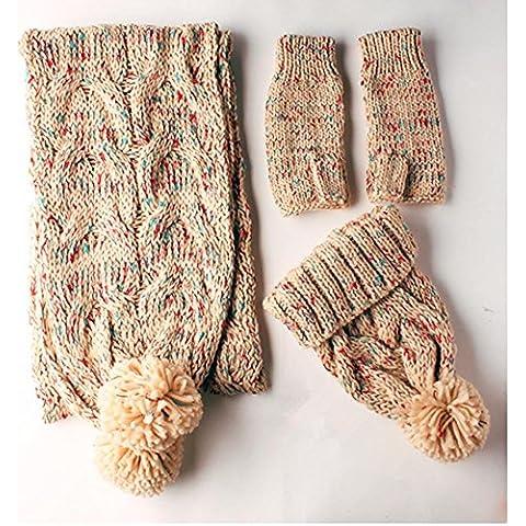 Inverno Autunno ispessimento caldo di lavoro a maglia a tre pezzi Guanto Cappello Sciarpa , beige