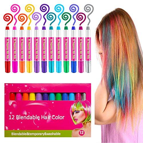 Haarkreide & Gesichtsbemalung Schminkset für Kinder –12 Sicher und Gesund Farbe Glitzer & Farbige Stifte Temporäre Haarfarbe Für Alle Haarfarben Geeignet, Perfektes Geschenk für Weihnachten & Geburtst