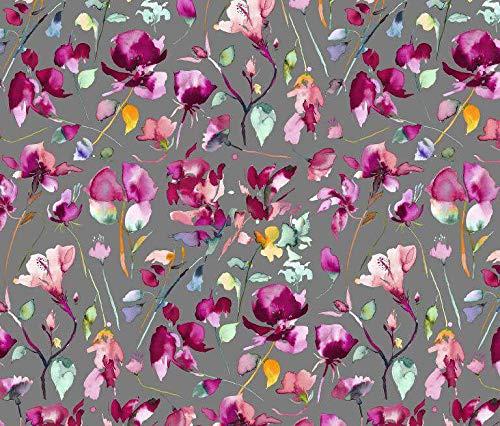 Qualitativ hochwertiger Jersey Stoff mit Blumen in Wasserfarbenoptik auf Grau als Meterware zum Nähen von Kinder- und Damenkleidung, 50 cm
