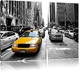 Gelbes Taxi in New York schwarz/weiß Format: 80x60 auf Leinwand, XXL riesige Bilder fertig gerahmt mit Keilrahmen, Kunstdruck auf Wandbild mit Rahmen, günstiger als Gemälde oder Ölbild, kein Poster oder Plakat