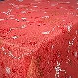 Hule Mantel encerado mesa mantel de hule lavable Navidad copos de nieve rojo tamaño a elegir), toalla, sättige, beständige Farben, Rund 140cm