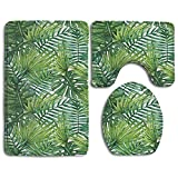 RedBeans Tropical Exotic Banana Forest Palme Blätter Watercolor Design Bild Dekorative Badezimmer Teppich Mats Set 3 Stück, Funny Bad Teppiche Graphic Sets, rutschsicheren WC-Vorleger Set
