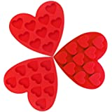 Lot de 3 moules en silicone pour chocolat, CNYMANY Forme de cœur antiadhésif Poêles de cuisine Pâtisserie bac à glaçons pour