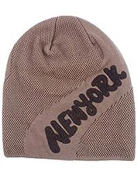 Easy Go Shopping Sombrero de cráneo de Invierno para Hombre Carta al Aire  Libre Sombrero de Punto Grueso Gorra de esquí con Capucha… e356fac7e41