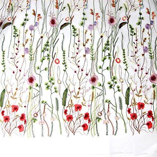 Ed Hardy De. DE. 1x 1,5m Stickerei Spitze Stoffe, Stickerei, Colorful Flower Spitze Trim für Hochzeit Kleid Decor -