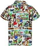 King Kameha Funky Camicia Hawaiana, Comic, Multicolor, XL