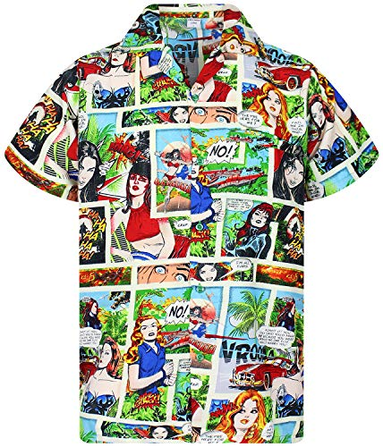 King Kameha Funky Camicia Hawaiana, Comic, Multicolor, L