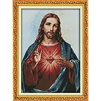 YEESAM Art nuovo punto croce ricamo–Gesù sacro cuore 14ct 34× 47cm DIY Set da ricamo bianco Tela Cerata–Croce Cucito a mano Natale regali Cross Stitch Kit - Hummel Cuore