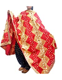 Red And GOLDEN Phulkari Dupatta Hand Made Embroidery Chinon Chifon Fabric - Dupatta With Multi Colored Ethnic...