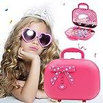 Moshbu Children Makeup Case Cosmetic Set, Kids Pretend Play Princess Toiletry Organizer Storage Box Preschool Hanging Bag...