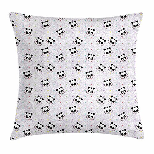 Panda Throw Pillow Cushion Cover, Colorful Lines and Stars with Jolly Curious Sad Facial Expressions of Chinese Bears, Decorative Square Accent Pillow Case, 18 X 18 Inches, Multicolor