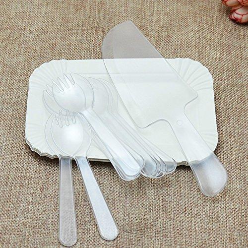 papier kuchen schüssel teller gabel blade ii - paket,transparente (Thanksgiving-papier, Geschirr)