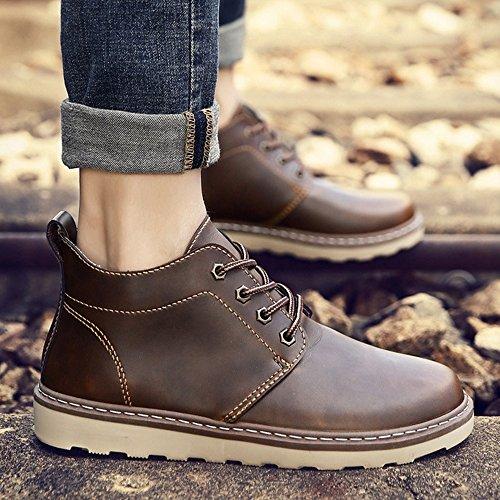 FEIFEI Scarpe da uomo Materiale PU Primavera e autunno Moda Martin Boots resistente allusura 3 colori ( Colore : Nero , dimensioni : EU40/UK7/CN41 ) Marrone