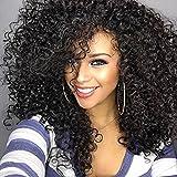 lockiges Haar Perücken für schwarz Frauen,gelockt Perücke, kinkys Curly Afro Perücken Echthaar Spitze vorne lang flauschig, gewellt, volle Synthetik Perücken mit Pony(wl9199)