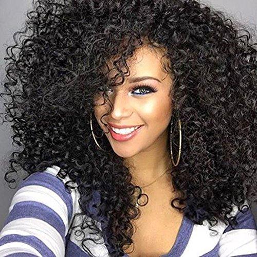 lockiges Haar Perücken für schwarz Frauen,gelockt Perücke, kinkys Curly Afro Perücken Echthaar Spitze vorne lang flauschig, gewellt, volle Synthetik Perücken mit Pony(wl9199) (Schwarze Echthaar Perücken)