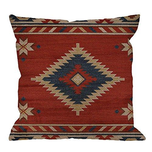 CrownLiny Vintage Southwest Native American Throw Pillow Case,Cotton Linen Cushion Cover Square Standard Home Decorative for Men/Women/Kids 18
