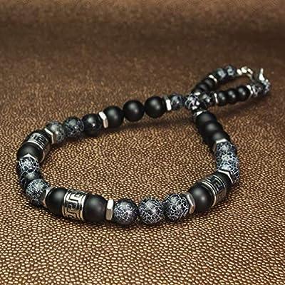 Sublime Collier Homme perles Ø8-10mm pierre Naturelle Agate Onyx Toile d'araignée perles style antique tibétaine en métal inoxydable couleur argent COLLIBINER