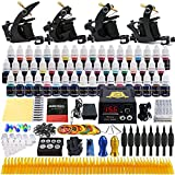 Solong Tattoo® Complete Tattoo Kit 4 Pro Machine Guns 54 Inks Power Supply Foot Pedal Needles Grips Tips TK457