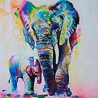Gemini _ Mall Peinture à l'huile d'un éléphant coloré sur toile moderne sans cadre Toile murale Décoration d'intérieur, Toile, éléphant, 60 cm x 60 cm
