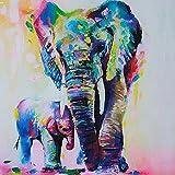Gemini _ Mall® handgemaltes Ölgemälde bunter Elefant auf Leinwand rahmenlos