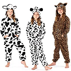 Kids Girls Hooded Fleece All In One Pyjamas Onesie Nightwear Jumpsuit Cow and Spot Dog Print from Selena Secrets