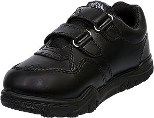 Navigon Black School Shoes Strap Closure for Boys