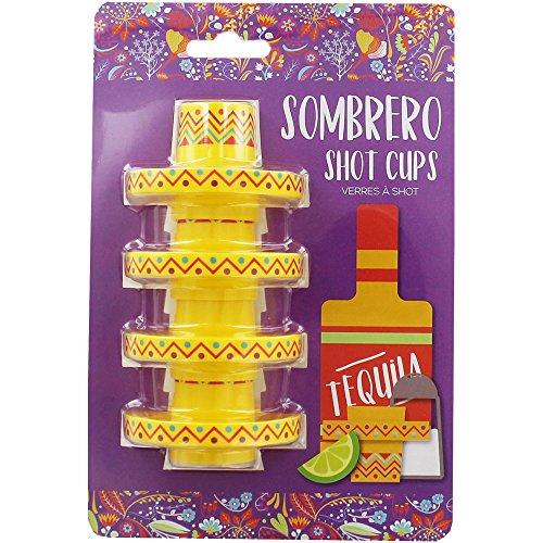 schenke Set von 4mexikanische Party Sombrero Hat Tequila Shot Cup Gläser (Mini Sombrero Party Hüte)