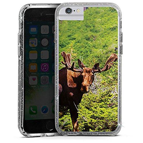 Apple iPhone X Bumper Hülle Bumper Case Glitzer Hülle Elch Rentier Reindeer Bumper Case Glitzer silber