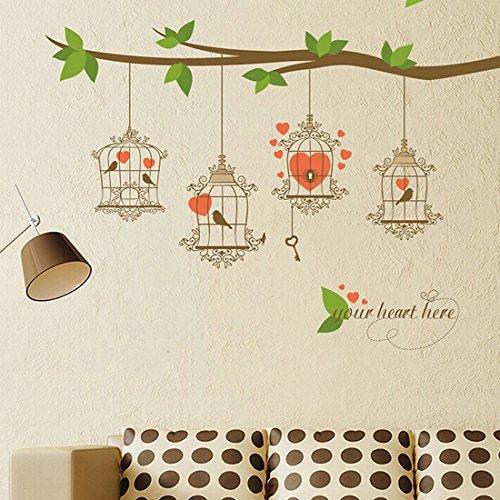 Jaulas de Pájaros De Rama de hojas verde adhesivo de pared Casa adhes