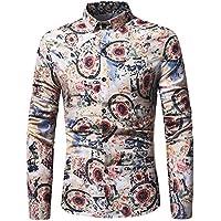 ITISME TOPS Herren Mode Mode-Persönlichkeit Männer Casual Schlank Langarm-Printed Shirt Top Bluse Preisreduzierung Zeitlich Begrenzten Preisreduktion