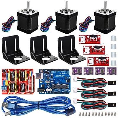 Professional 3D printer CNC Kit for arduino , Kuman GRBL CNC Shield+UNO R3 Board+RAMPS 1.4 Mechanical Switch Endstop+DRV8825 A4988 Stepper Motor Driver with heat sink+Nema 17 Stepper Motor KB02