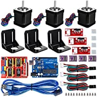 Professional 3d printer CNC Kit For Arduino, Kuman grbl CNC Shield + Uno R3 Board + rampe 1.4 Mechanical Switch endstop + DRV8825 A4988 Stepper Motor Driver WITH Heat Sink + NEMA 17 Stepper Motor kb02