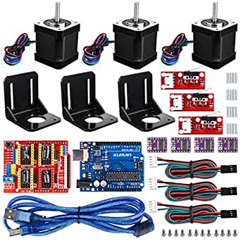 Professional 3D printer CNC Kit for arduino , Kuman GRBL CNC Shield+UNO R3 Board+RAMPS 1.4 Mechanical Switch Endstop+DRV8825 A4988 Stepper Motor Driver with heat sink+Nema 17 Stepper Motor KB02