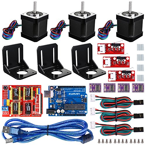 Professional 3D printer CNC Kit for arduino , Kuman GRBL CNC Shield+UNO R3 Board+RAMPS 1.4 Mechanical Switch Endstop+DRV8825 A4988 Stepper Motor Driver with heat sink+Nema 17 Stepper Motor KB02 (Cnc-motor-kit)