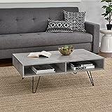 [en.casa] Couch-Tisch Design MDF - Beton-Optik - 100x60x35cm - Beistelltisch Wohnzimmer mit Hairpinleg - 2 Ablageflächen