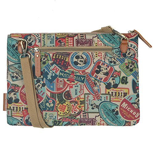 ililily Disney Mickey Mouse Faux Leather Round Patch Cross-Body Shoulder Bag Brown Pattern