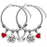 Best Friend Braccialetti per 2 braccialetti da donna con ciondolo a forma di cuore, per migliore sorella