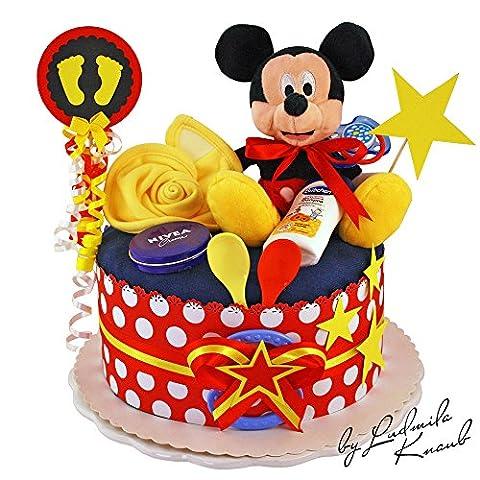 Gâteau gâteau/Pampers Couches > > cadeau pour bébé garçon dans un beau 3couleur argile: Rouge–Noir–Jaune//Cadeau de naissance, baptême, baby party//Cadeau Original et Pratique Pour