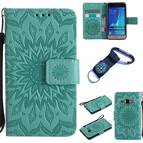 Preisvergleich Produktbild Galaxy J1 (2016) Hülle Blume Premium PU Leder Schutzhülle für Samsung Galaxy J1 (2016) J120 (4,5 ZollBookstyle Tasche Schale PU Case mit Standfunktion+Outdoor Kompass Schlüsselanhänge) (6)