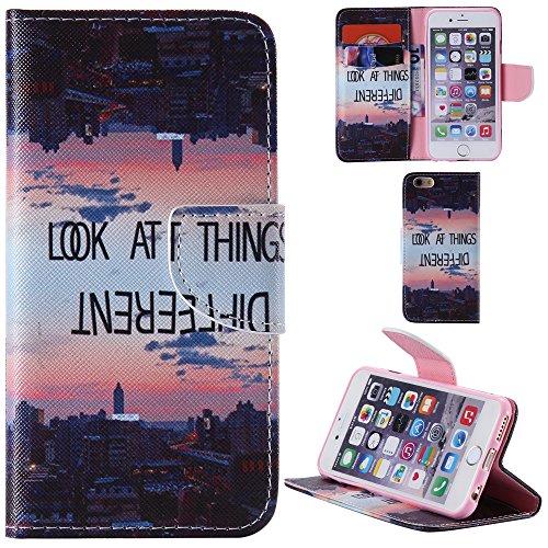 Ooboom® iPhone 5SE Coque PU Cuir Flip Housse Étui Cover Case Wallet Portefeuille Fonction Support avec Porte-cartes pour iPhone 5SE - Bouilloire Look At Things