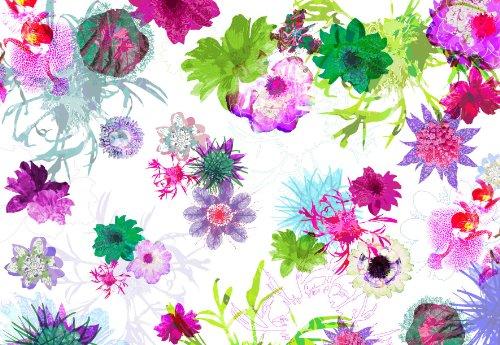Fotomural Fleurs de Paris (dibujos de flores) 3,68 x 2,54 m. Formato grande XXL! - Fotomurales Komar