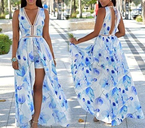 Femmes Robe col V profond Dos nu Floral Maxi Overlay Romper Playsuit Jumpsuit Comme l'image