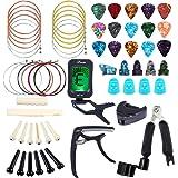 Bosunny 60 PCS Kit de Accesorios de Guitarra que Incluye Púas Para Guitarra,Capo,Afinador,Cuerdas para Guitarra Acústica,3 en