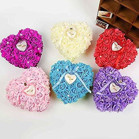 Cordón en forma de corazón con rosa y arco anillo caja almohada para Wedding(26*26*9cm) , tiffany