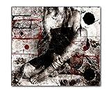 80x90cm Wait rot weiß schwarz grau abstrakt Kunstdruck von Paul Sinus Art - Leinwandbild fertig auf Keilrahmen, tolle Optik - Deutsche Qualität - moderne stilvolle Dekobilder und Designs für Ihr Wohnzimmer, Schlafzimmer Büro usw. ideal auch als Geschenk zu Geburtstag, Ostern, Weihnachten, Hochzeiten etc. - günstig und werthaltig zugleich - Bilder zum Träumen