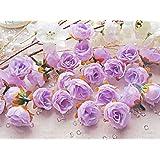 Rosa sintetica, colore: lilla, motivo floreale, in finta seta, colore: rosa, Tessuto, viola, 25-30mm